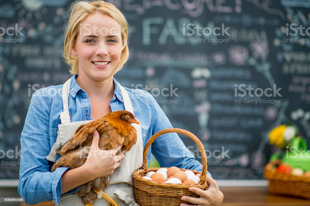 Farmer Selling Eggs at the Market stock photo