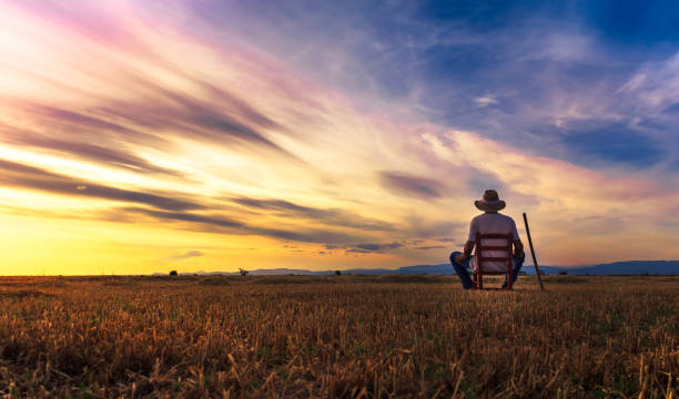 farmer sitting on a chair looking at the field and sunset farmer sitting on a chair looking at the field and sunset rancher stock pictures, royalty-free photos & images