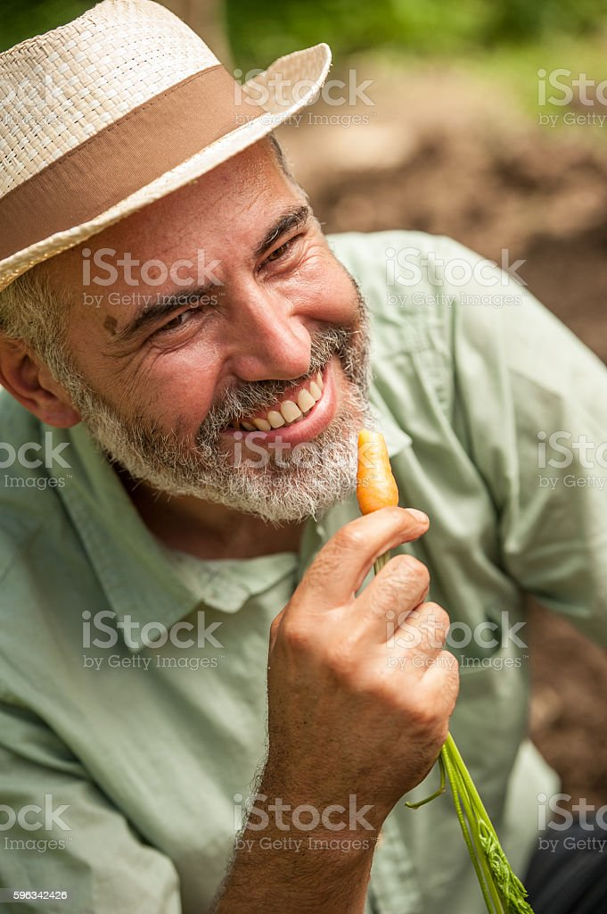Farmer Smiling and Holding a Small Carrot royalty-free stock photo