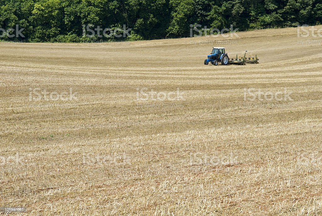 Farmer Sows Second Hay Planting royalty-free stock photo
