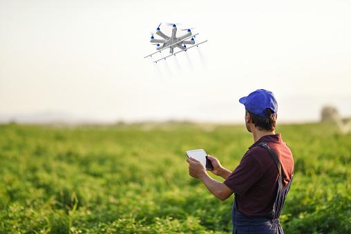 Bir Dron Kullanarak Onun Bitkileri Püskürtme Çiftçi Stok Fotoğraflar & ABD'nin Daha Fazla Resimleri