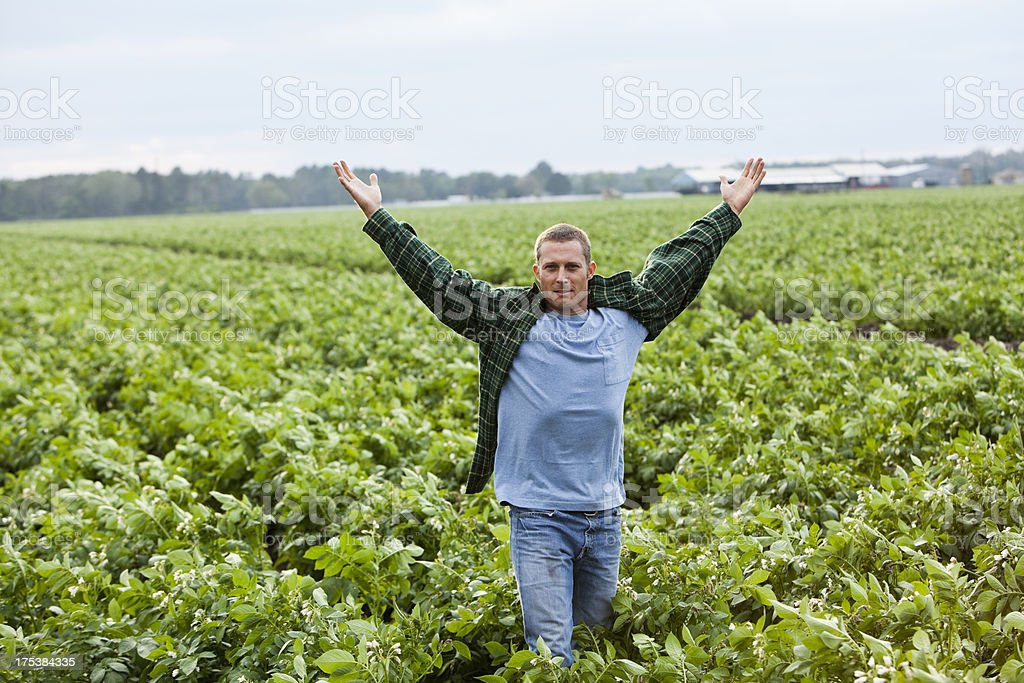 Farmer standing in field arms raised royalty-free stock photo
