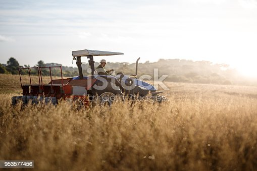 Tractor driver doing the picking.