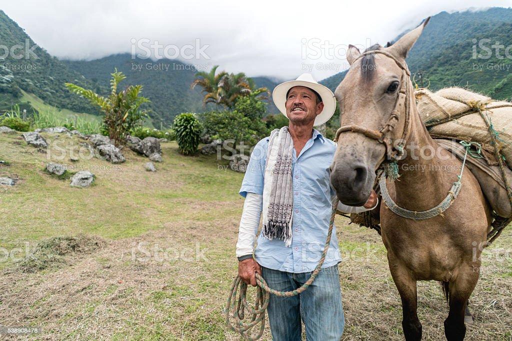 Farmer using a donkey at the farm stock photo