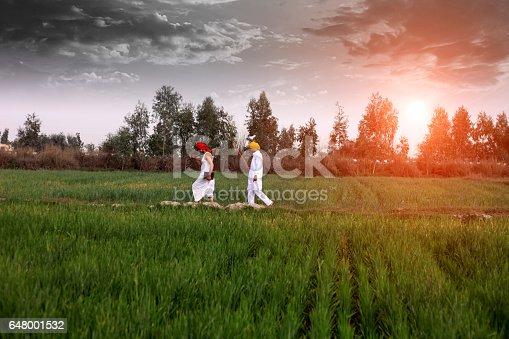 1094815168 istock photo Farmer walking in the field in the morning 648001532