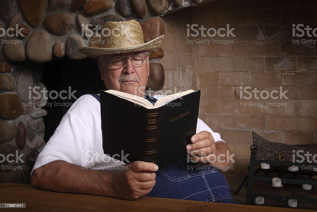 Farmer with Bible royalty-free stock photo