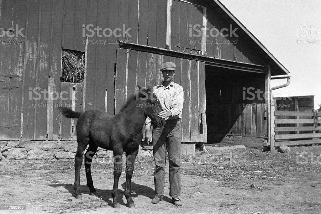 farmer with foal in barnyard 1935, retro stock photo