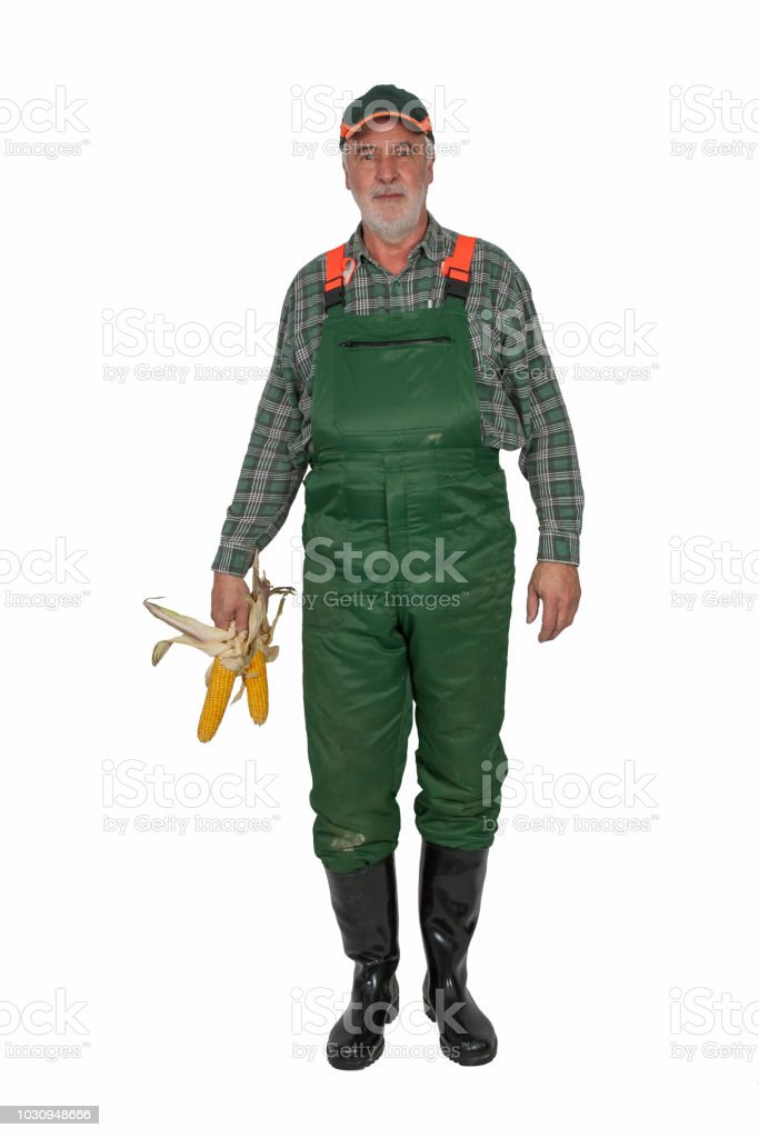 Farmer with green dungarees and black rubber. - Royalty-free Adult Stock Photo