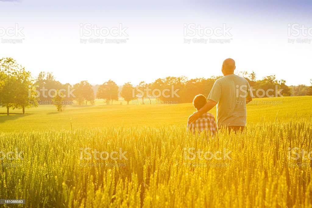 Farmer with his son at sunset stock photo