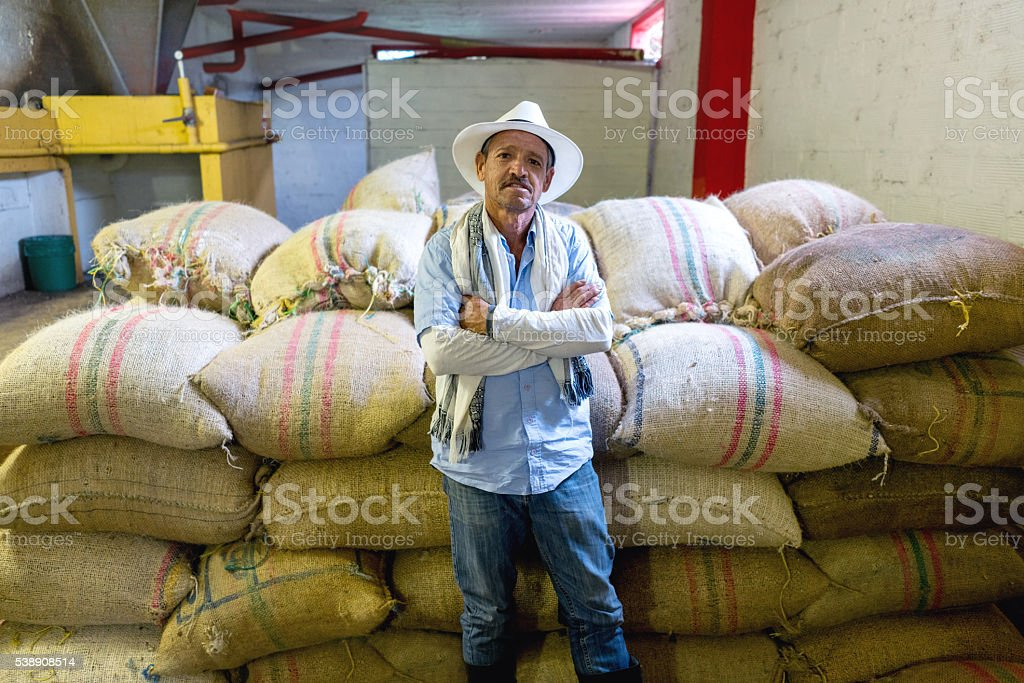 Farmer with sacks of Colombian coffee stock photo