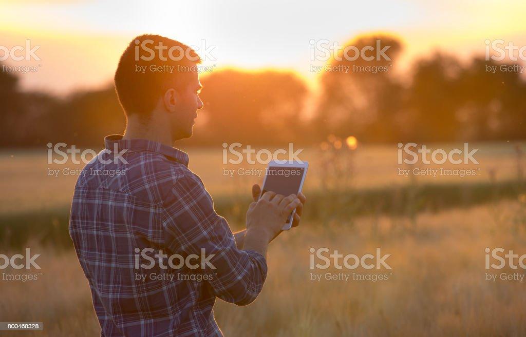 Agricultor con tableta en el campo - foto de stock