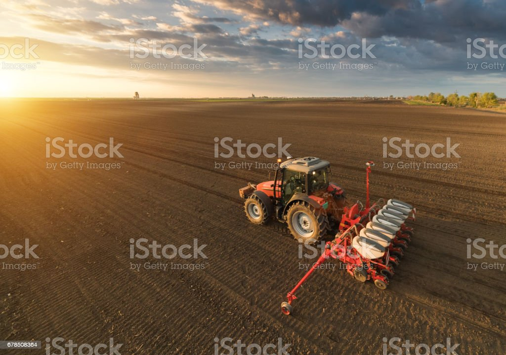 Farmer with tractor seeding - sowing crops at agricultural fields in spring stock photo