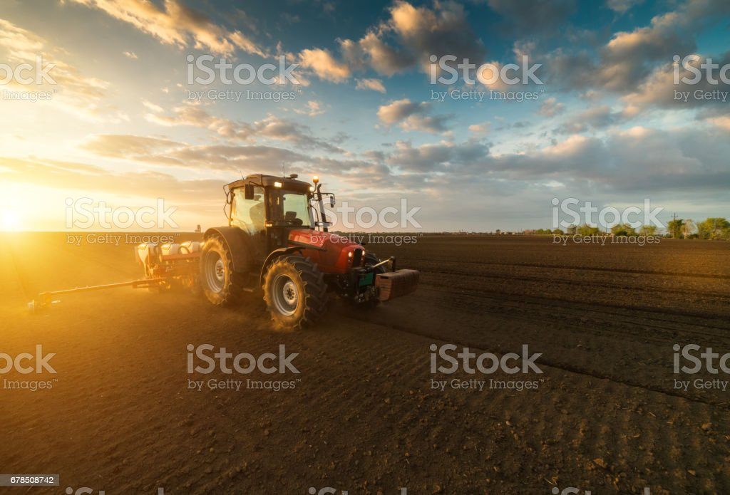 Farmer with tractor seeding - sowing crops at agricultural fields in spring – Foto