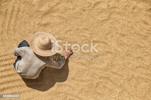 istock Farmer working on harvested grains from above 493884542