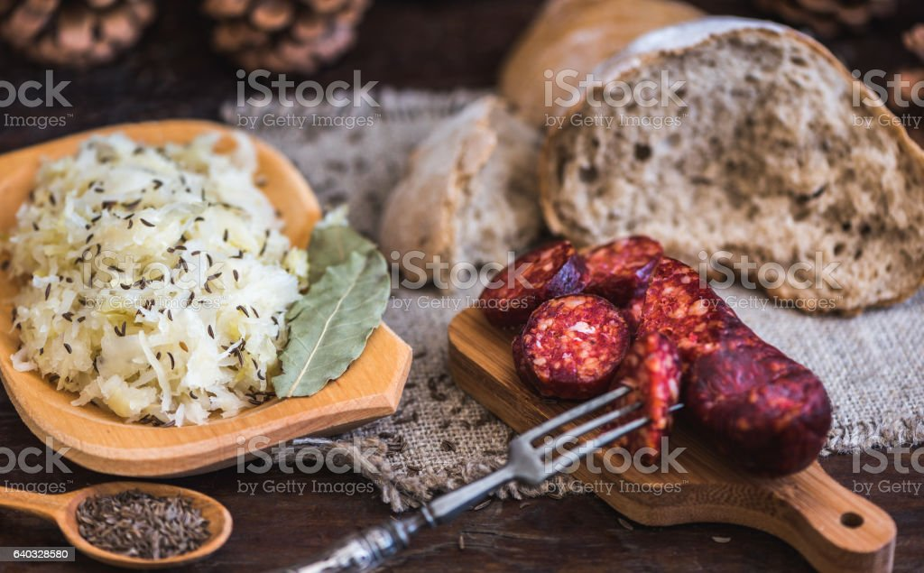 Farmer's Breakfast, Sausage and Sour Cabbage. stock photo