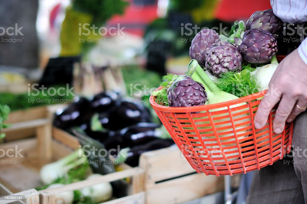 Farmer's Market basket royalty-free stock photo