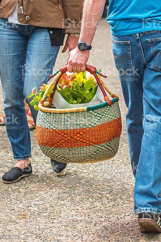 Farmers Market Basket stock photo