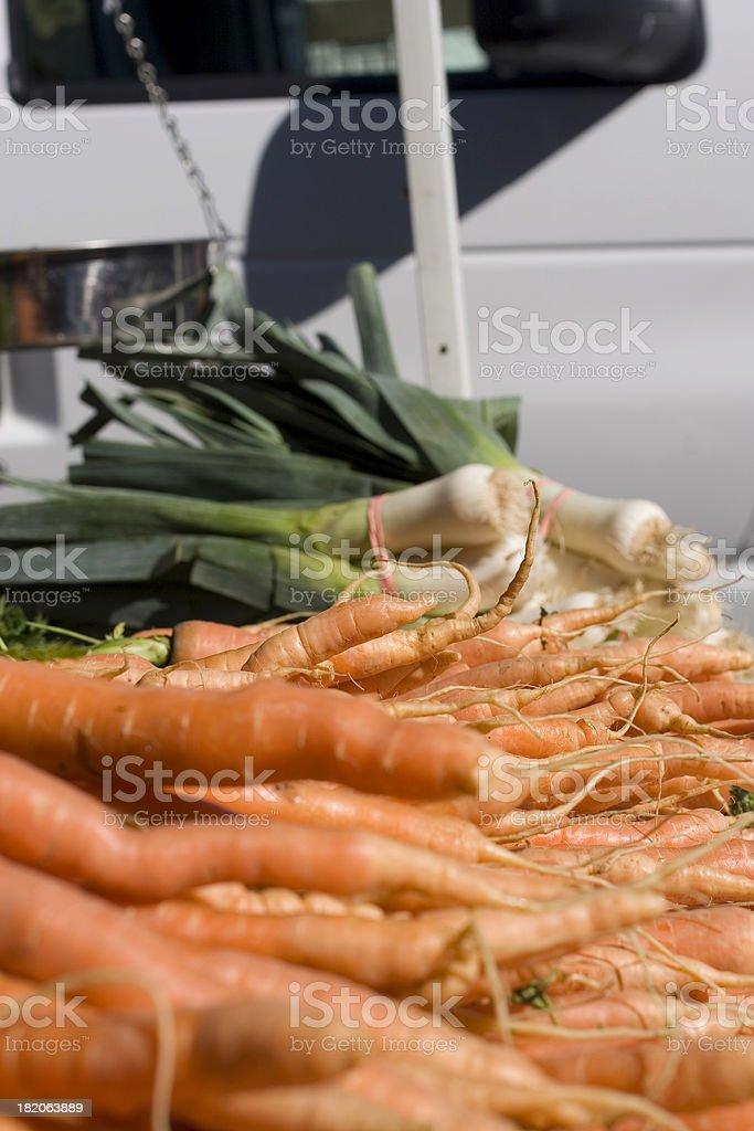 Farmers Market: Carrots and Leeks royalty-free stock photo
