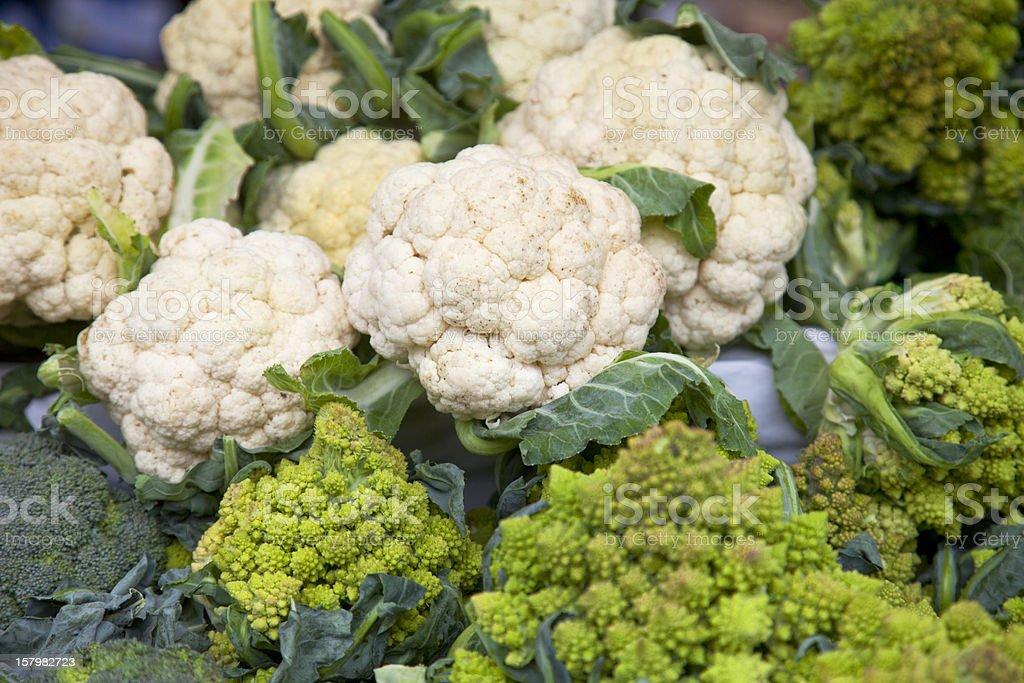 Farmers market, cauliflower and broccholi. royalty-free stock photo