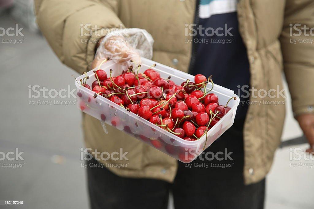 Farmers Market: Cherries stock photo