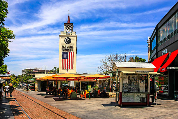 Farmers Market clock tower in this district of Los Angeles stock photo