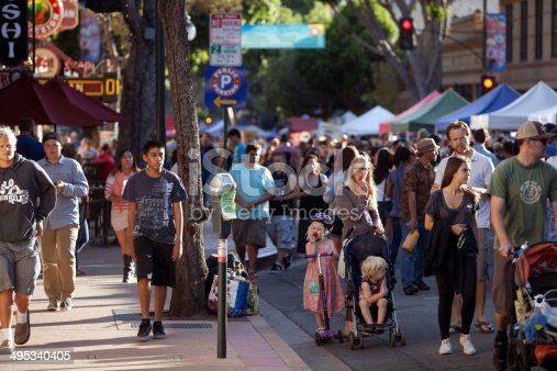 A crowd of people at the downtown farmers market in downtown San Luis Obispo