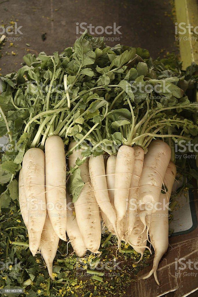 Farmers Market: Daikon Radishes royalty-free stock photo