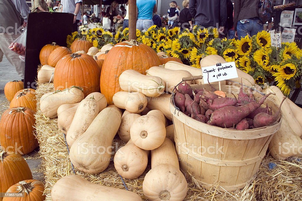 Farmers Market: Fall Vegetables and Flowers royalty-free stock photo