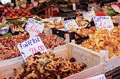 Farmers Market with Selection of fresh produce including wild organic mushrooms for sale in Venice Italy