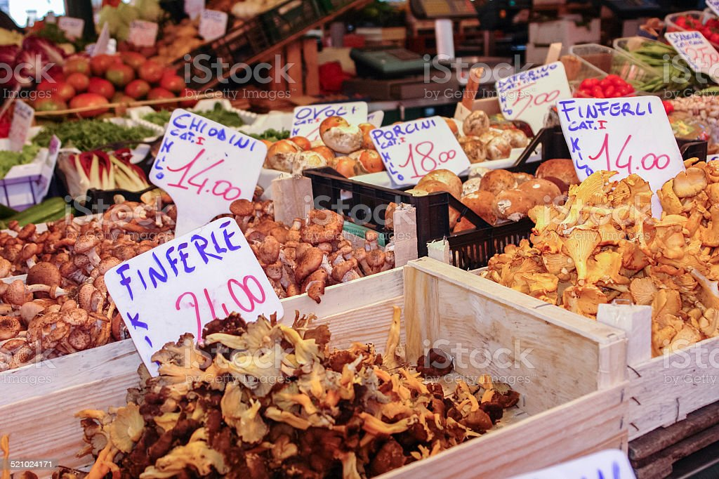 Farmers Market featuring Wild Mushrooms for In Venice, Italy stock photo