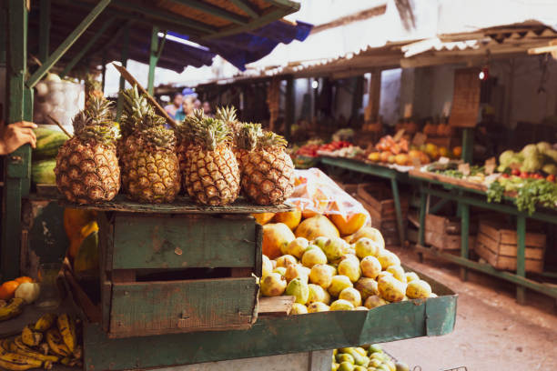 Farmers Market Fruit and Vegetable Market in Cuba stock photo