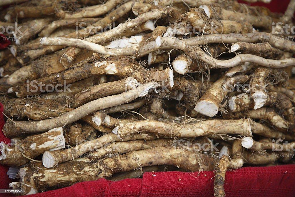 Farmers Market: Horseradish Root stock photo