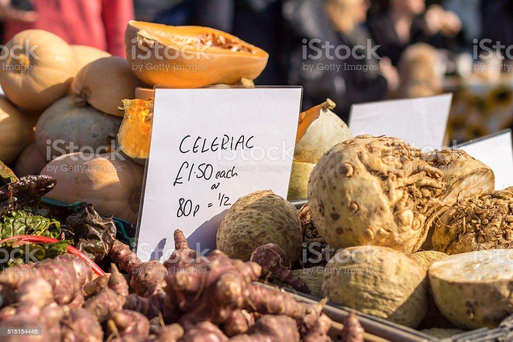 Farmers market in England stock photo