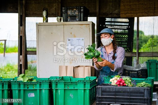 A farmers market in operation during Covid-19.  A farmer behind her produce tables at a farmers market.