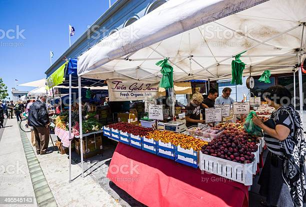 Farmers Market In Port Of San Francisco Stock Photo - Download Image Now