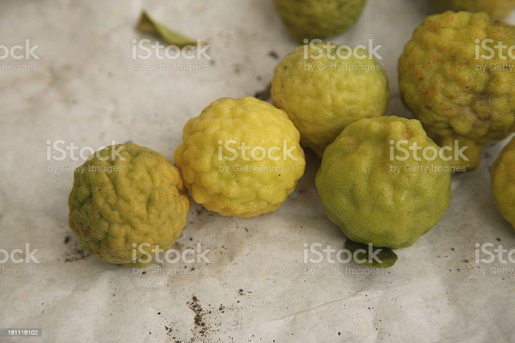 Farmers Market: Kaffir Limes royalty-free stock photo