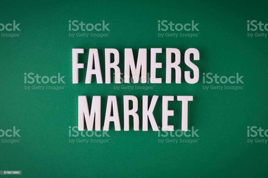 Farmers Market lettering sign stock photo