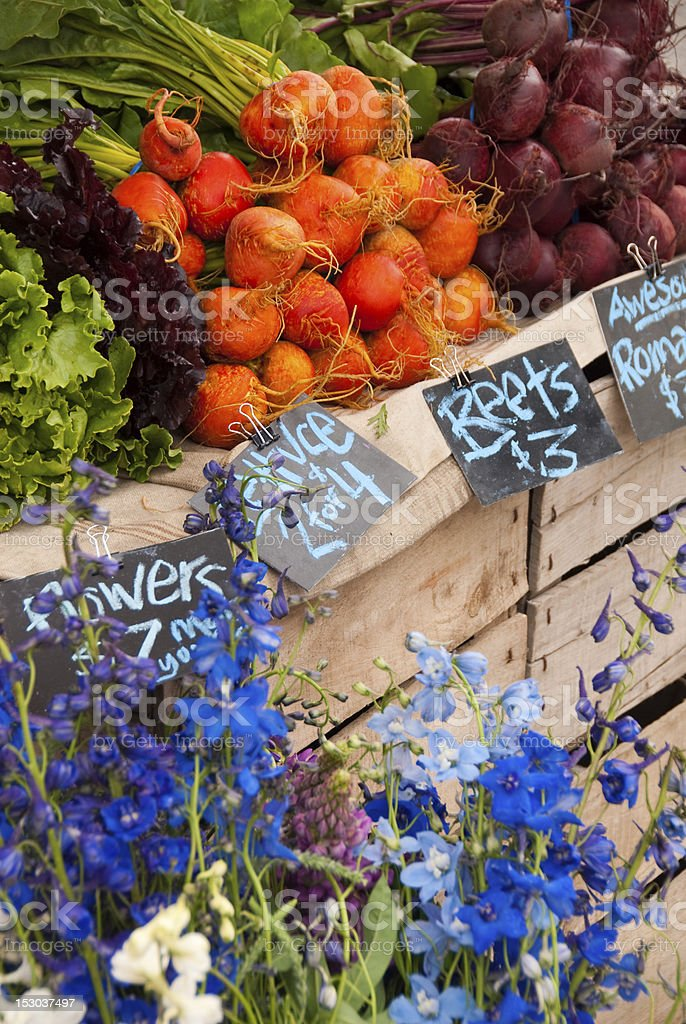 Farmer's Market produce and flowers stock photo