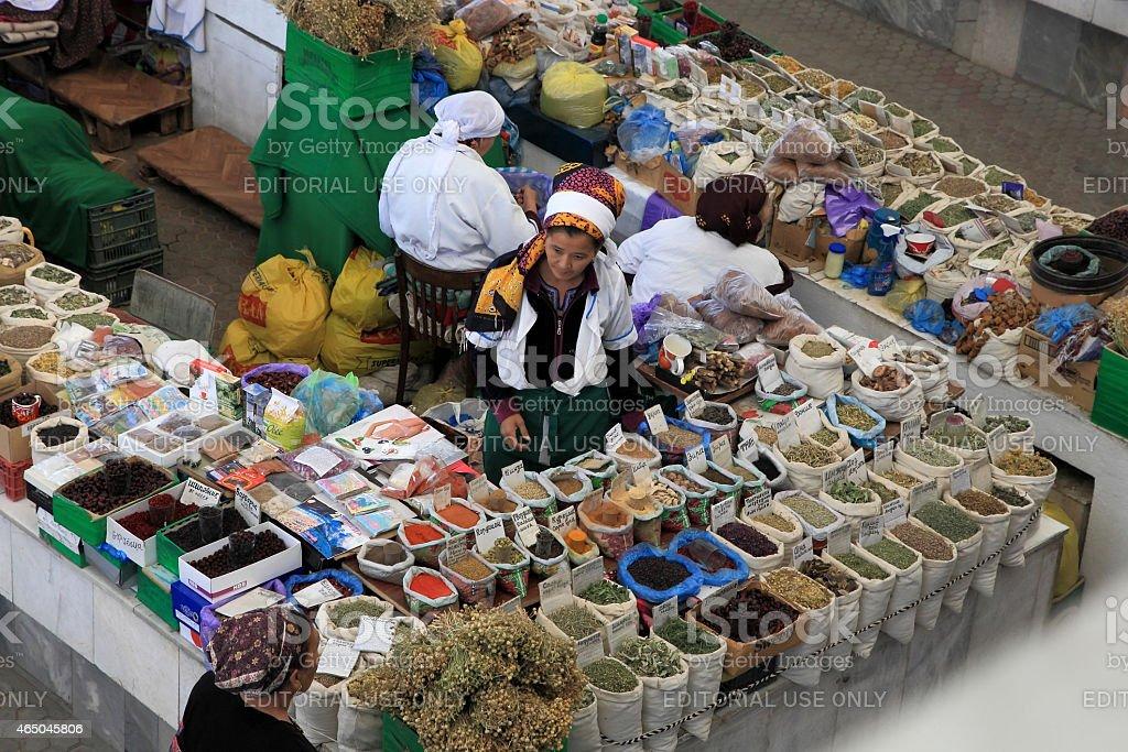 Farmers Market 'Russkii' ('Russian') in Ashgabad stock photo