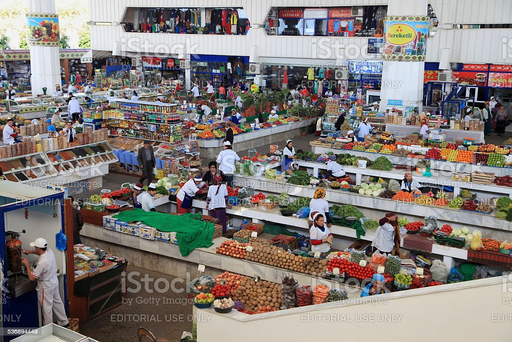 Farmers Market 'Russkii' ('Russian') in Ashgabad - Stock image .