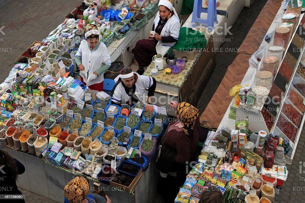 Farmers Market 'Russkii' ('Russian') in Ashgabad, Turkmenistan stock photo
