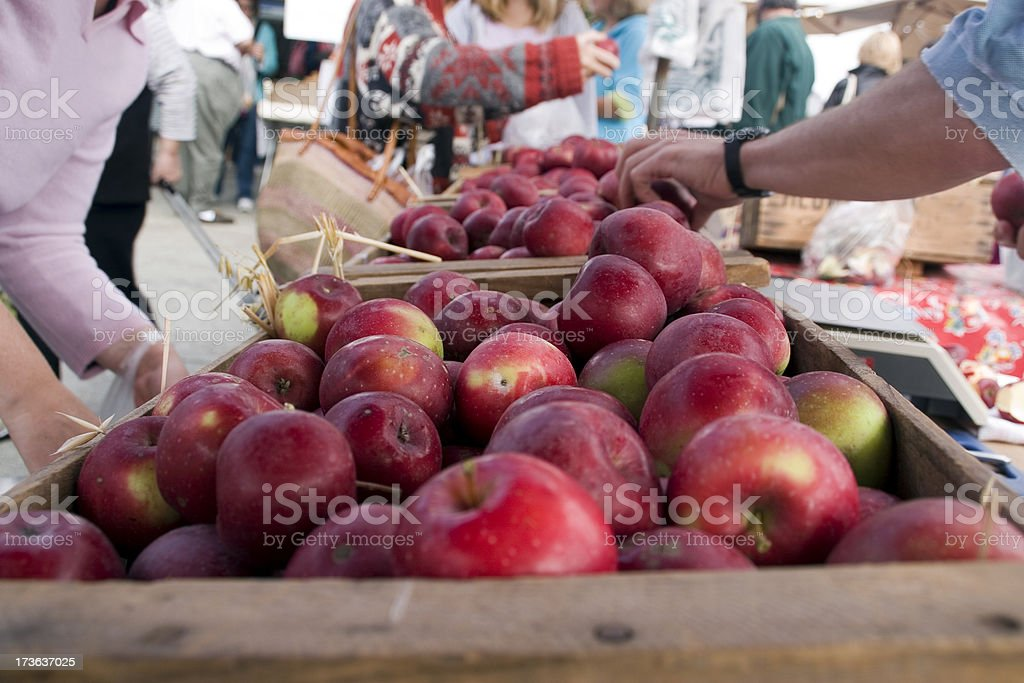 Farmers Market: Shopping for Apples royalty-free stock photo