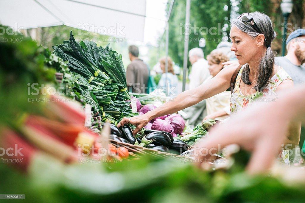 Farmers Market Shopping Mature Woman stock photo