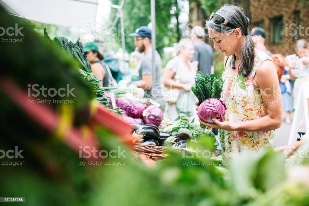 Farmers Market Shopping Mature Woman stock photo