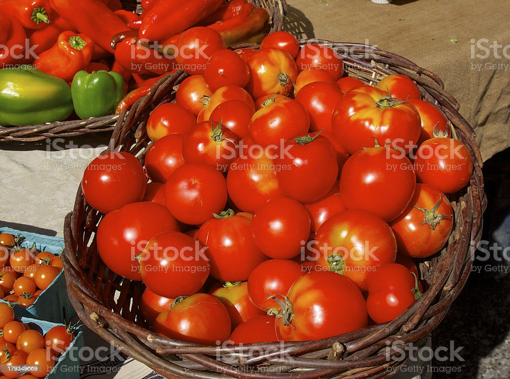 Farmer's market tomatoes and peppers royalty-free stock photo