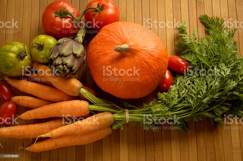 Farmers Market Vegetables On Wood Background royalty-free stock photo