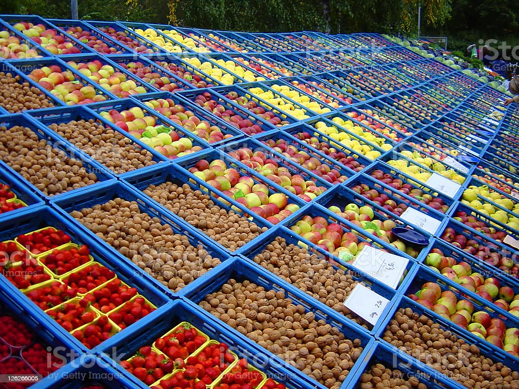 Farmers market with several fruits (Germany) royalty-free stock photo