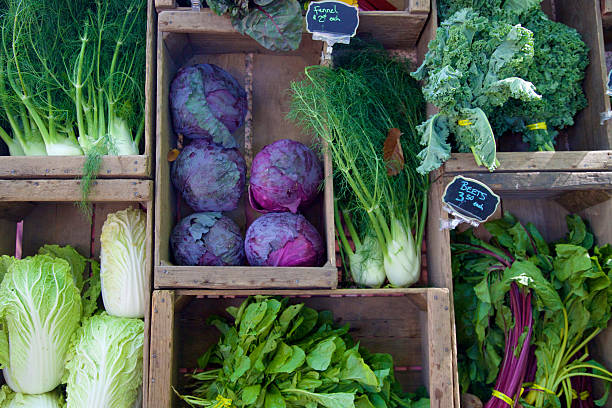 farmer's markets vegetables Leaf vegetables at the farmer's market, including napa cabbage,cabbage,fennel,red cabbage,beets,beet greens,kale, and spinach farmer's market stock pictures, royalty-free photos & images