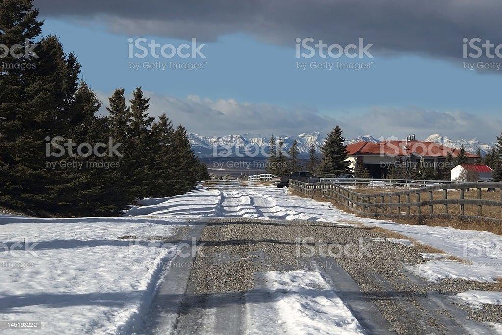 Farmers road near Cochrane, Alberta Canada stock photo