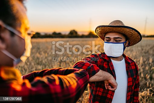 istock Farmers with face masks greeting with elbow bump 1281297063